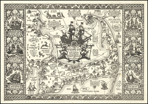 Massachusetts and Pictorial Maps Map By Coulton Waugh