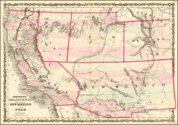 100-Southwest, Arizona, Utah, Nevada, New Mexico, Rocky Mountains, Utah and California Map By Alvin
