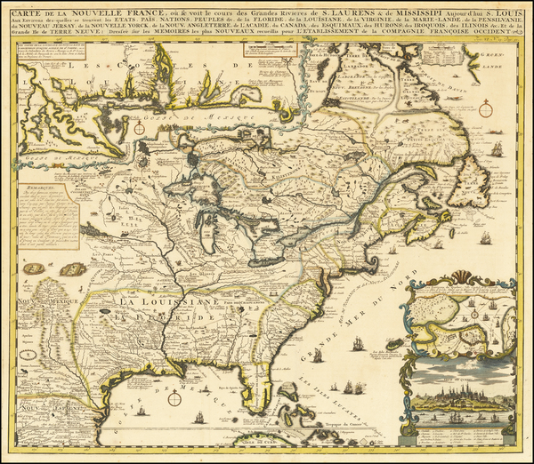65-United States, South, Midwest and Canada Map By Henri Chatelain
