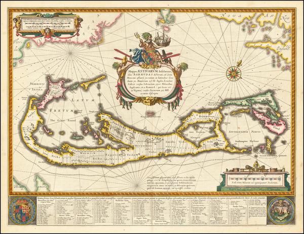 44-Bermuda Map By Willem Janszoon Blaeu