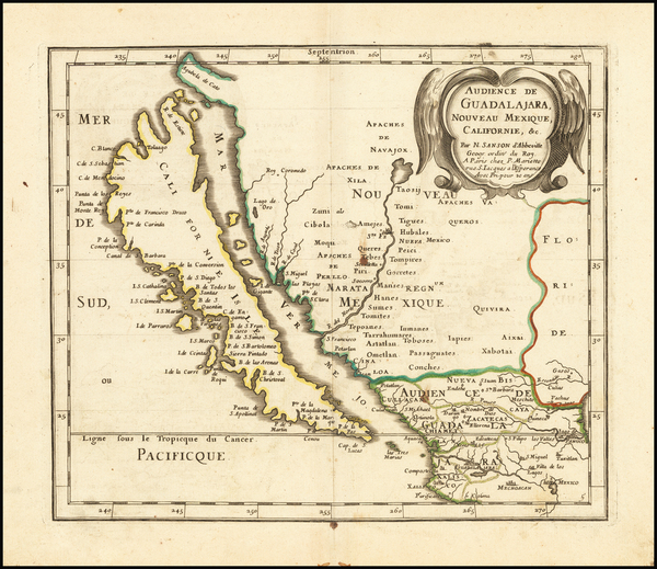 78-Southwest, Mexico, Baja California, California and California as an Island Map By Nicolas Sanso