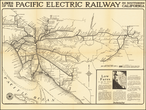62-California and Los Angeles Map By D.W. Pontius / Pacific Electric Railway