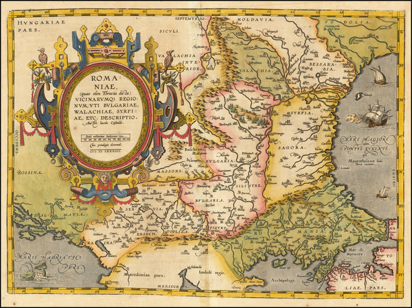 Romania, Albania, Kosovo, Macedonia and Bulgaria Map By Abraham Ortelius