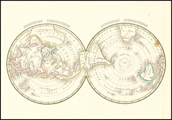67-World, Northern Hemisphere, Southern Hemisphere and Polar Maps Map By Thomas Gamaliel Bradford