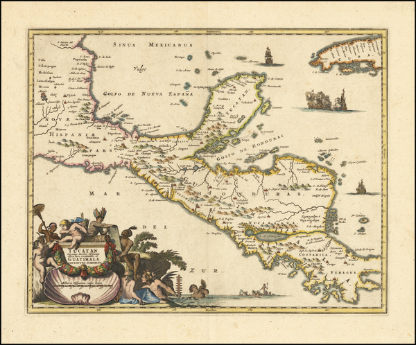 54-Mexico and Central America Map By John Ogilby
