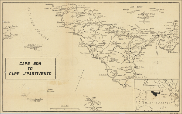 69-Malta and Sicily Map By C. P. D.