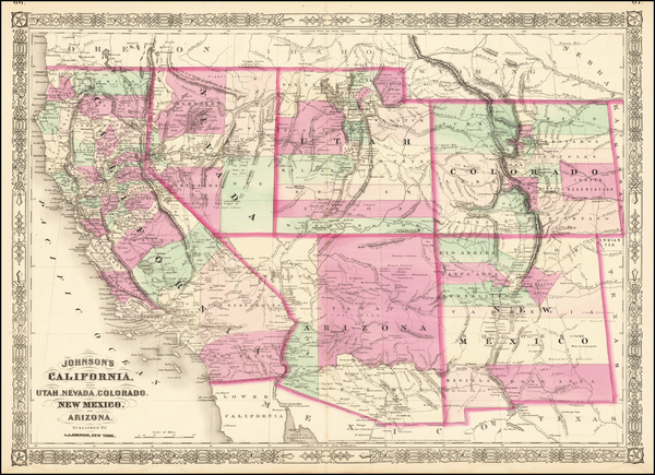 Arizona, Colorado, Utah, Nevada, New Mexico, Colorado, Utah and California Map By Alvin Jewett Johnson