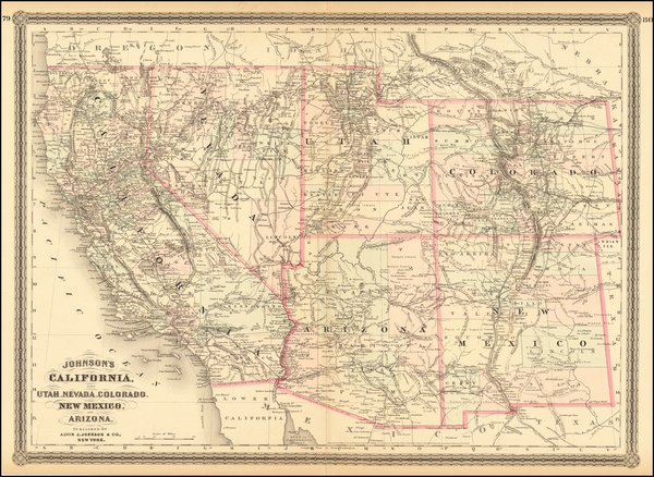 42-Southwest, Rocky Mountains and California Map By Alvin Jewett Johnson