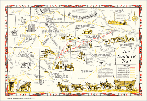 Texas, Nebraska, Oklahoma & Indian Territory, Arizona, Colorado, Utah, Nevada, Colorado, Utah and Wyoming Map By American Pioneer Trails Association