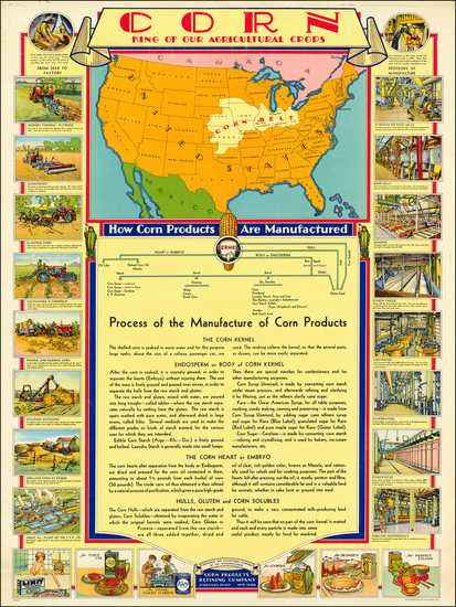 96-United States and Pictorial Maps Map By Corn Products Refining Company