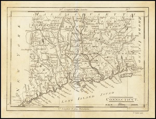 59-Connecticut Map By Mathew Carey