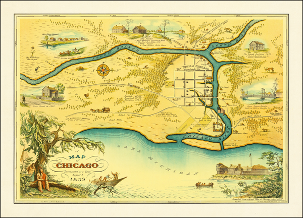 13-Pictorial Maps and Chicago Map By D. E. Stelzer  &  Walter Conley