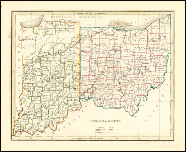 68-Indiana and Ohio Map By Thomas Gamaliel Bradford