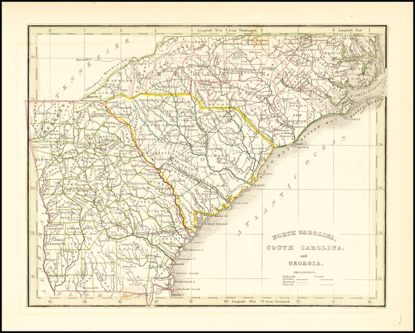 78-Georgia, North Carolina and South Carolina Map By Thomas Gamaliel Bradford