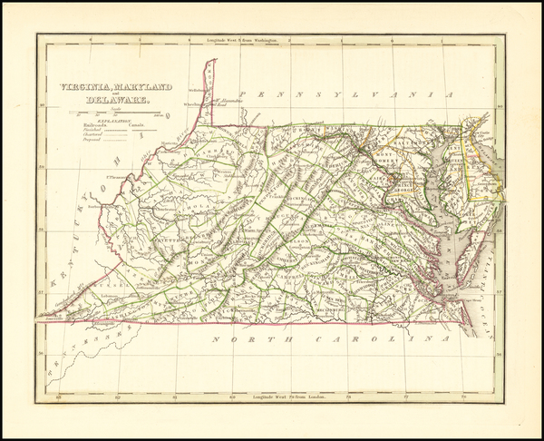 90-Maryland, Delaware, West Virginia and Virginia Map By Thomas Gamaliel Bradford