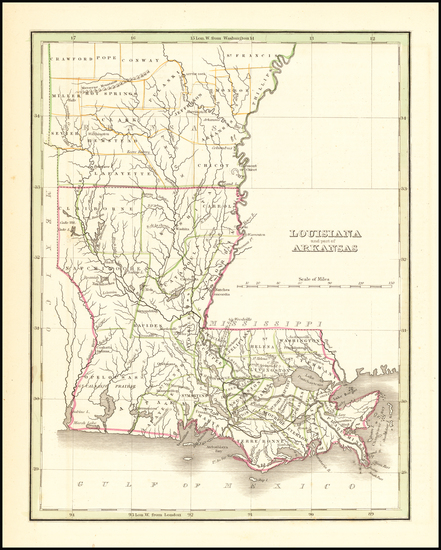 95-Louisiana and Arkansas Map By Thomas Gamaliel Bradford