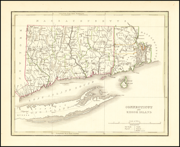 49-Connecticut and Rhode Island Map By Thomas Gamaliel Bradford