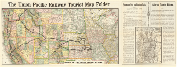 Kansas, Colorado, Utah, Rocky Mountains, Colorado, Idaho, Montana, Wyoming, Oregon and California Map By Union Pacific Railroad Company