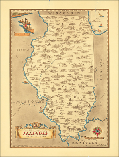 61-Illinois and Pictorial Maps Map By Karl Smith
