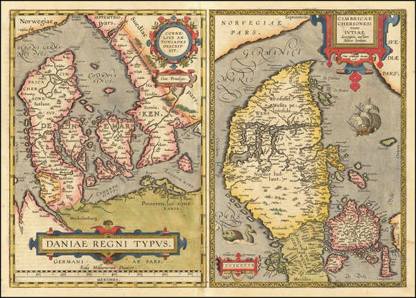 1-Germany and Denmark Map By Abraham Ortelius