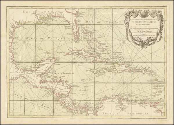 51-Florida, South and Caribbean Map By Giovanni Antonio Rizzi-Zannoni