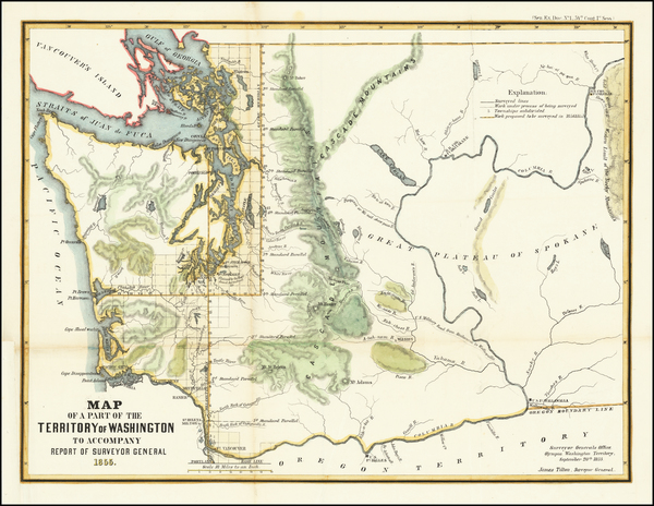 13-Washington Map By General Land Office / A. Hoen & Co.