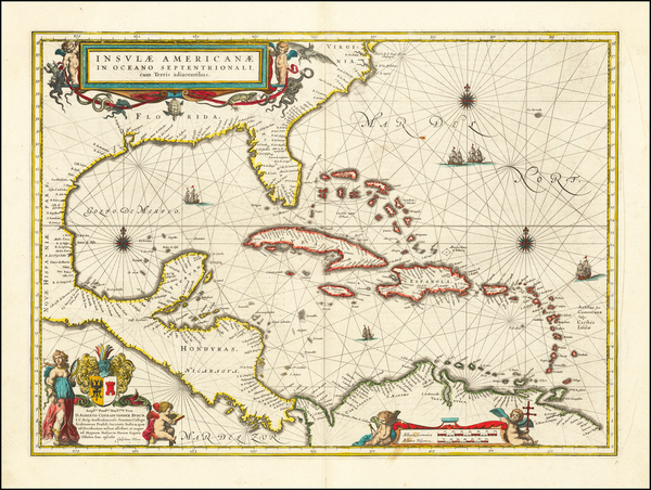 46-Florida, South, Southeast, Caribbean and Central America Map By Willem Janszoon Blaeu