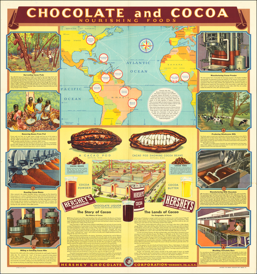 10-World, Atlantic Ocean, Curiosities, Pictorial Maps and America Map By Hershey Chocolate Corp.