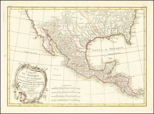 87-South, Texas, Southwest and Mexico Map By Jean Lattré