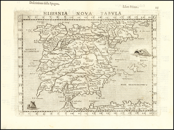 Spain and Portugal Map By Girolamo Ruscelli