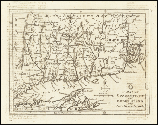 40-New England, Connecticut and Rhode Island Map By Gentleman's Magazine