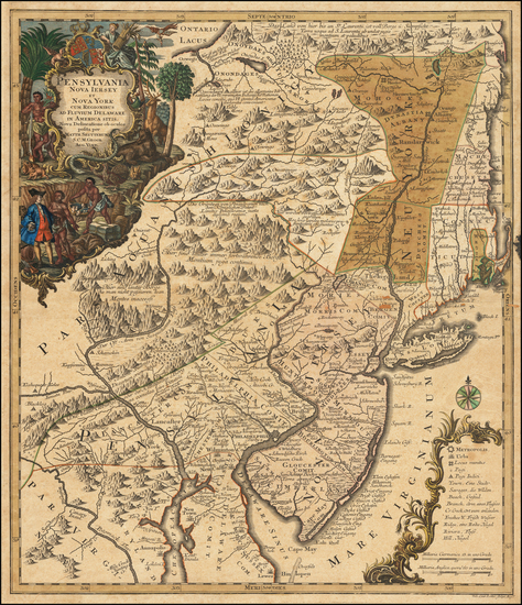 83-New York State, Mid-Atlantic, New Jersey and Pennsylvania Map By Matthaus Seutter
