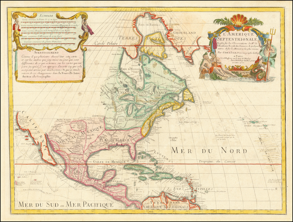 39-North America Map By Guillaume De L'Isle