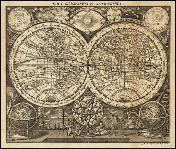 88-World, New Zealand, California as an Island and Celestial Maps Map By L Steinberger