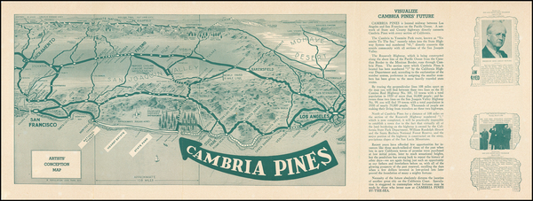 89-Pictorial Maps, California and Other California Cities Map By Cambria Development Company