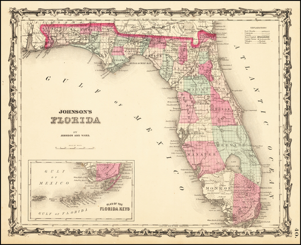 66-Florida Map By Benjamin P Ward  &  Alvin Jewett Johnson