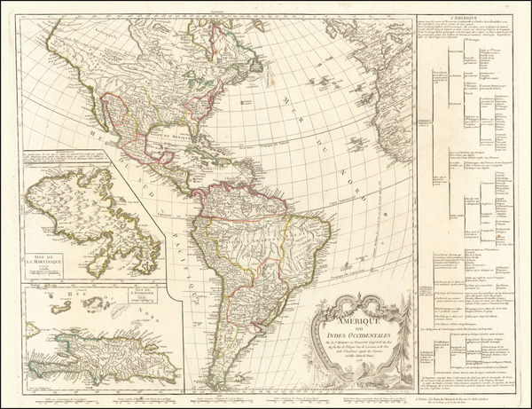 0-Hispaniola and America Map By Didier Robert de Vaugondy / Charles Francois Delamarche
