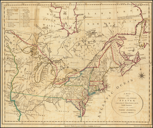 33-United States, New England, Mid-Atlantic, Midwest and Canada Map By John Stockdale / Jedidiah M