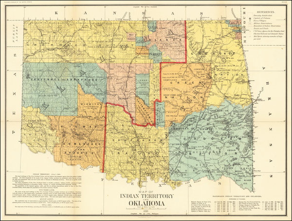 Plains and Oklahoma & Indian Territory Map By Julius Bien & Co.
