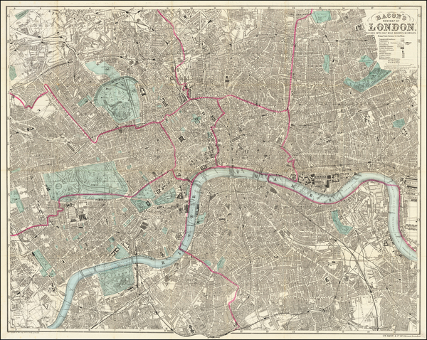 24-London Map By G.W. Bacon & Co.