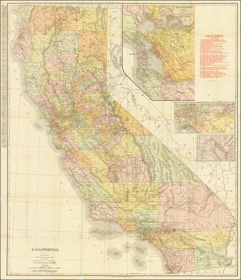 92-California Map By Rand McNally & Company