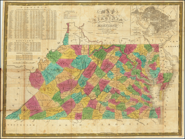 56-Maryland and Virginia Map By Samuel Augustus Mitchell