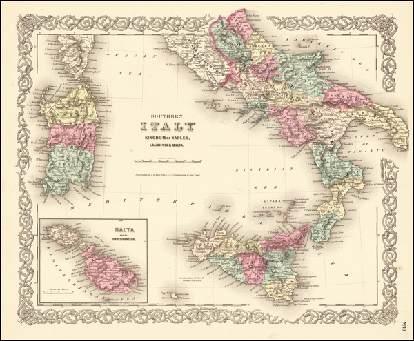 98-Italy, Southern Italy, Mediterranean and Balearic Islands Map By Joseph Hutchins Colton