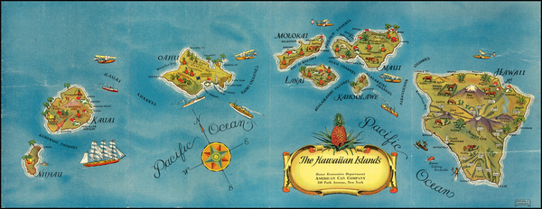 9-Hawaii, Hawaii and Pictorial Maps Map By Stephen J. Voorhies