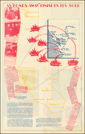 57-Oregon, Pictorial Maps, California and World War II Map By Fourth Air Force