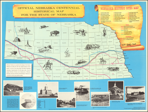 55-Nebraska and Pictorial Maps Map By Nebraska Centennial Commission