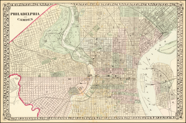 85-Pennsylvania and Philadelphia Map By Samuel Augustus Mitchell Jr.