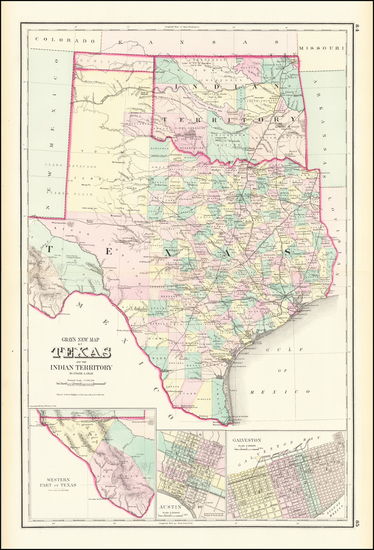 49-Texas and Oklahoma & Indian Territory Map By O.W. Gray