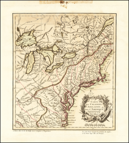 67-United States and Canada Map By N. J. B. de Poilly