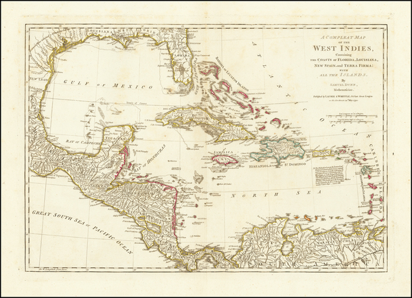 1-Florida, Caribbean and Central America Map By Laurie & Whittle